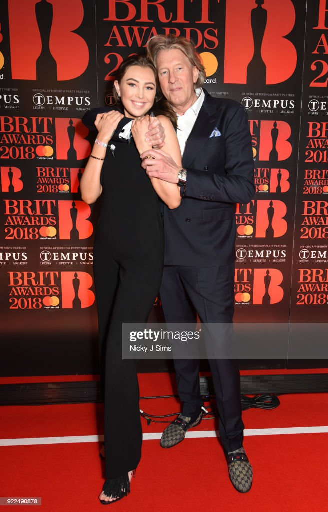 Andrea Shaw and Per M. Hansen attend The BRIT Awards 2018 after-party, hosted by Tempus magazine, at The Intercontinental Hotel, The o2, on February 21, 2018 in London, England.