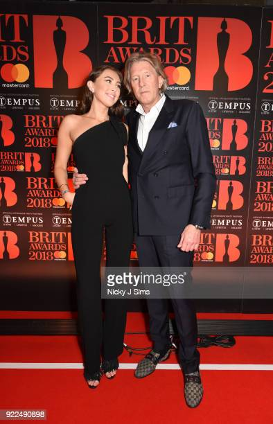 Andrea Shaw and Per M Hansen attend The BRIT Awards 2018 afterparty hosted by Tempus magazine at The Intercontinental Hotel The o2 on February 21...