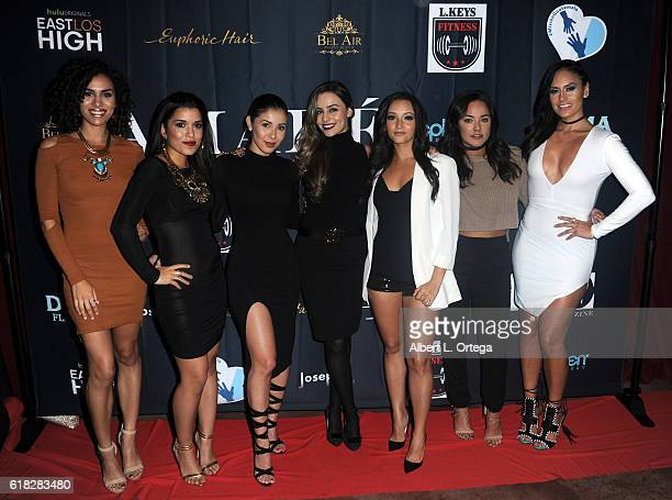 Andrea Sixtos Alicia Sixtos Ashley Campuzano guest Danielle Vega Alex Rodriguez and Jes Meza attend the Amare Magazine 2nd Issue Party featuring the...
