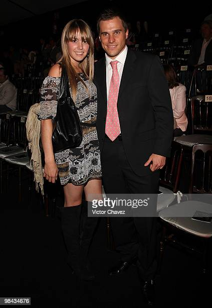 Andrea Sola and Jorge Marroqui attend the Sergio Bustamante showroom during MercedesBenz Fashion Mexico Autumn Winter 2010 at Campo Marte on April 12...