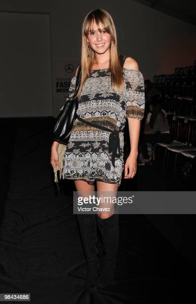 Andrea Sola attends the Sergio Bustamante showroom during MercedesBenz Fashion Mexico Autumn Winter 2010 at Campo Marte on April 12 2010 in Mexico...