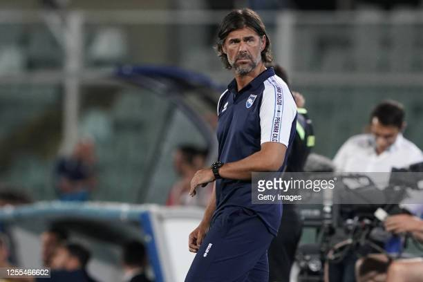Andrea Sottil, head coach of Pescara Calcio, reacts during the Serie B match between Pescara Calcio and AC Perugia at Adriatico Stadium on July 10,...