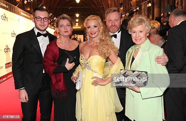 Andrea Spatzek and son Alexander Marcus Strahl and wife Laila Waltraud Haas attend the 5th Filmball Vienna at City Hall on March 14 2014 in Vienna...
