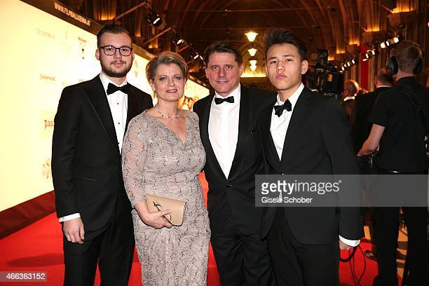 Andrea Spatzek with her son Alexander Spatzek and her brother Christian Spatzek and his son Fabian Spatzek during the Filmball Vienna 2015 on March...