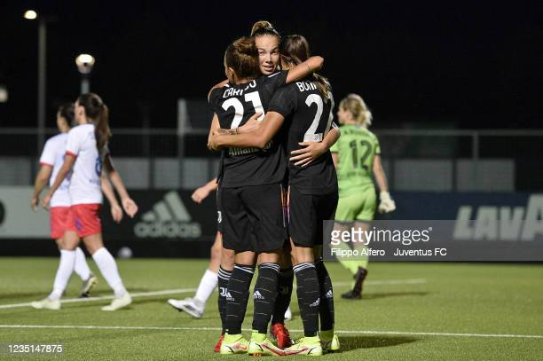 Andrea Staskova of Juventus celebrates after scoring a goal during the UEFA Women's Champions League match between Juventus Women and Vllaznia at...