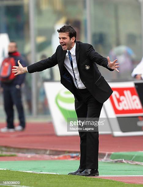 Andrea Stramaccioni head coach of FC Internazionale gestures during the Serie A match between Calcio Catania and FC Internazionale Milano at Stadio...