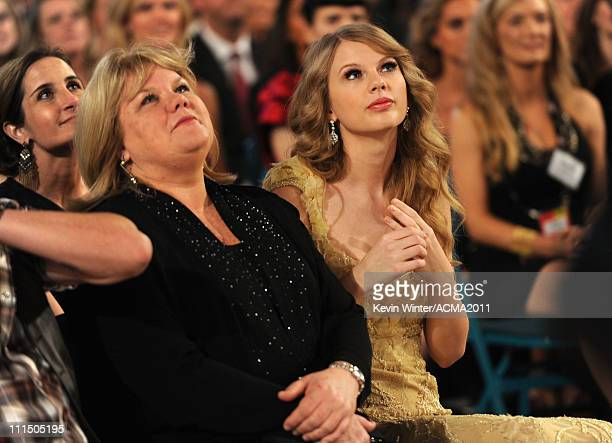 Andrea Swift and singer Taylor Swift in the audience at the 46th Annual Academy Of Country Music Awards held at the MGM Grand Garden Arena on April 3...