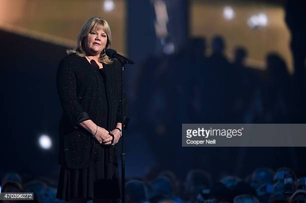Andrea Swift speaks onstage during the 50th Academy Of Country Music Awards at ATT Stadium on April 19 2015 in Arlington Texas