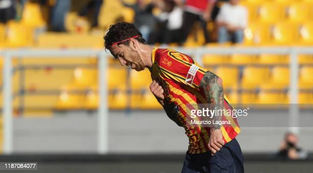 Andrea Tabanelli of Lecce celebrates after scoring his team's equalizing goal during the Serie A match between US Lecce and Genoa CFC at Stadio Via...