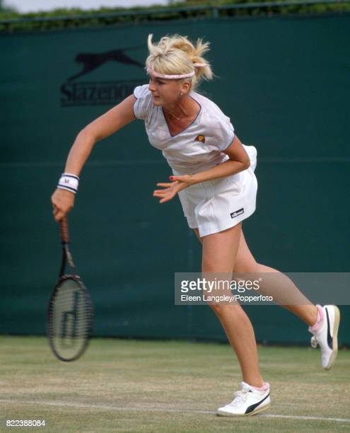 Andrea Temesvari of Hungary in a women's singles match during the Wimbledon Lawn Tennis Championships in London circa June 1983 Temesvari lost in the...