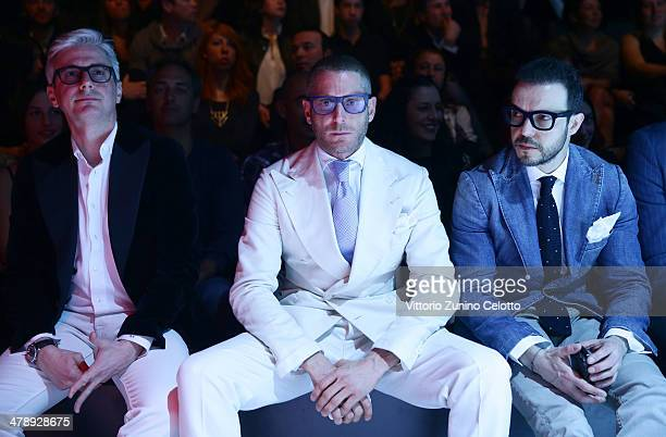 Andrea Tessitore and Lapo Elkann attend the Italia Independent show during MBFWI presented by American Express Fall/Winter 2014 on March 15 2014 in...