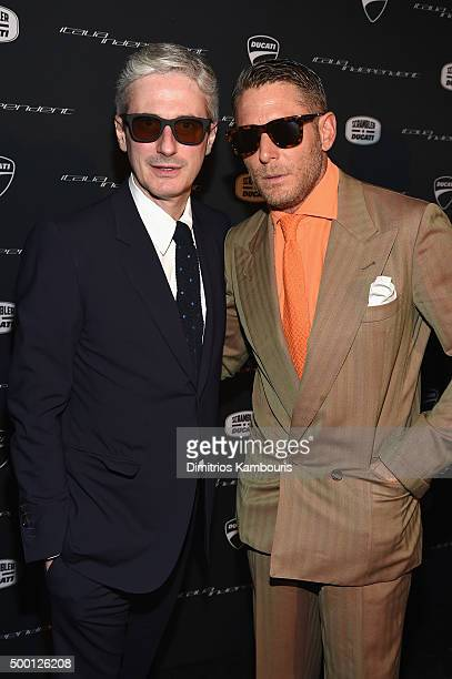 Andrea Tessitore CEO of Italia Independent and Lapo Elkann attend the Italia Independent X Ducati Celebration of The Launch Of The Scrambler Ducati...