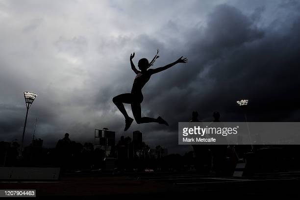 Andrea Thompson competes in the Women's Long Jump during the 2020 Sydney Track Classic at Sydney Olympic Park Athletic Centre on February 22 2020 in...