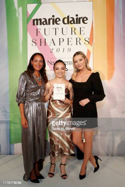 Andrea Thompson Lynette Linton and Laura Whitmore attend the Marie Claire Future Shapers Awards in partnership with Neutrogena at One Marylebone on...