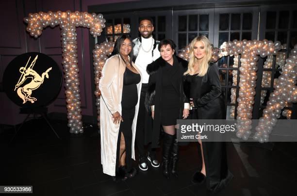 Andrea Thompson Tristan Thompson Kris Jenner and Khloe Kardashian pose for a photo as Remy Martin celebrates Tristan Thompson's Birthday at Beauty...