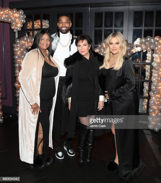 Andrea Thompson Tristan Thompson Kris Jenner and Khloe Kardashian pose for a photo as Remy Martin celebrates Tristan Thompson's Birthday at Beauty...
