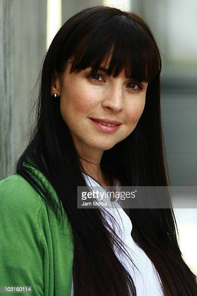 Andrea Torre poses for a photograph during the filming of 'Maria Fanatica' of TV show 'Mujeres Asesinas' at Roma Colony on July 29 2010 in Mexico...