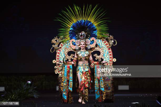 Andrea Toscano Miss Mexico 2018 poses on stage during the 2018 Miss Universe national costume presentation in Chonburi province on December 10 2018