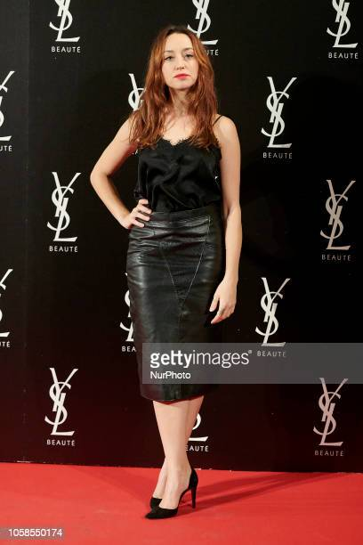Andrea Trepat attends the YVES SAINT LAURENT THE SLIM Rouge PurCouture party photocall at Santona Palace in Madrid on October 6 2018