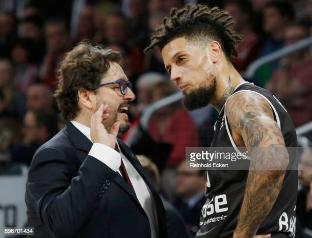 Andrea Trincheri Head Coach and Daniel Hackett #0 of Brose Bamberg in action during the 2017/2018 Turkish Airlines EuroLeague Regular Season Round 14...