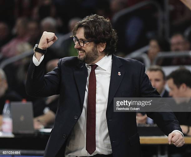 Andrea Trincheri Head Coach of Brose Bamberg celebrates during the 2016/2017 Turkish Airlines EuroLeague Regular Season Round 16 game between Brose...