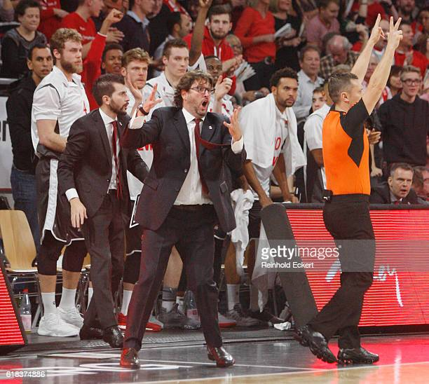 Andrea Trincheri Head Coach of Brose Bamberg in action during the 2016/2017 Turkish Airlines EuroLeague Regular Season Round 3 game between Brose...