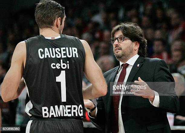 Andrea Trincheri Head Coach of Brose Bamberg in action during the 2016/2017 Turkish Airlines EuroLeague Regular Season Round 5 game between Brose...