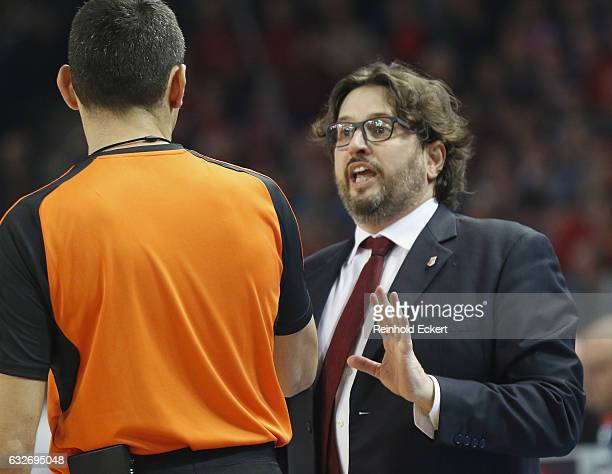 Andrea Trincheri Head Coach of Brose Bamberg in action during the 2016/2017 Turkish Airlines EuroLeague Regular Season Round 19 game between Brose...