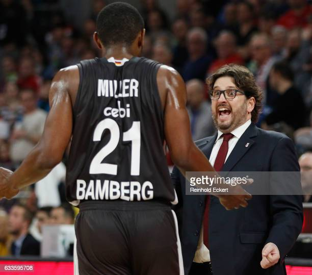 Andrea Trincheri Head Coach of Brose Bamberg in action during the 2016/2017 Turkish Airlines EuroLeague Regular Season Round 21 game between Brose...