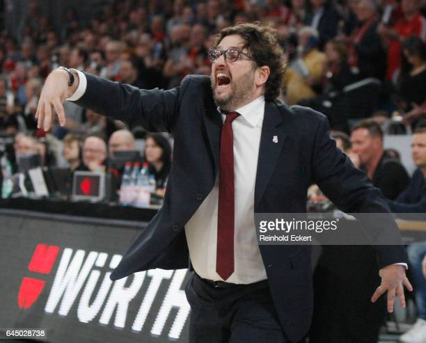 Andrea Trincheri Head Coach of Brose Bamberg in action during the 2016/2017 Turkish Airlines EuroLeague Regular Season Round 23 game between Brose...