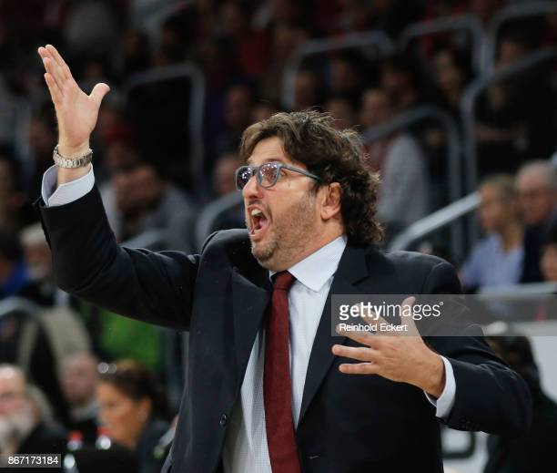 Andrea Trincheri Head Coach of Brose Bamberg in action during the 2017/2018 Turkish Airlines EuroLeague Regular Season Round 4 game between Brose...