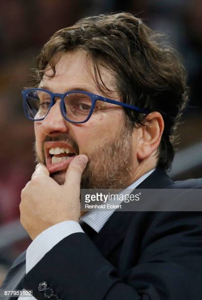 Andrea Trincheri Head Coach of Brose Bamberg in action during the 2017/2018 Turkish Airlines EuroLeague Regular Season Round 9 game between Brose...