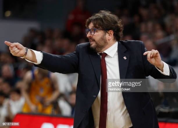 Andrea Trincheri Head Coach of Brose Bamberg in action during the 2017/2018 Turkish Airlines EuroLeague Regular Season Round 16 game between Brose...