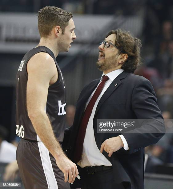Andrea Trincheri Head Coach of Brose Bambergand Fabien Causeur #1 of Brose Bamberg in action during the 2016/2017 Turkish Airlines EuroLeague Regular...