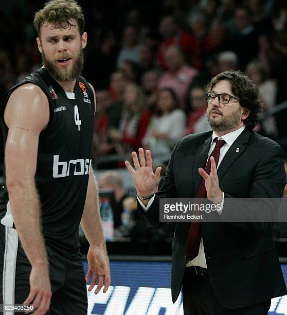 Andrea Trincheri Head Coachand Nicolo Melli #4 of Brose Bamberg in action during the 2016/2017 Turkish Airlines EuroLeague Regular Season Round 7...