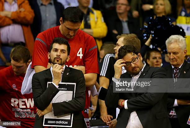 Andrea Trinchieri head coach of Bamberg looks dejected after losing the BEKO BBL Top Four final game between EWE Baskets Oldenburg and Brose Baskets...