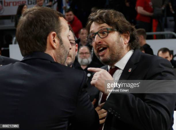 Andrea Trinchieri Head Coach of Brose Bamberg and Sito Alonso Head Coach of Baskonia Vitoria Gasteiz in action during the 2016/2017 Turkish Airlines...