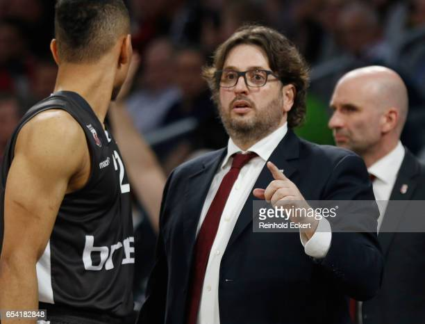 Andrea Trinchieri Head Coach of Brose Bamberg in action during the 2016/2017 Turkish Airlines EuroLeague Regular Season Round 26 game between Brose...