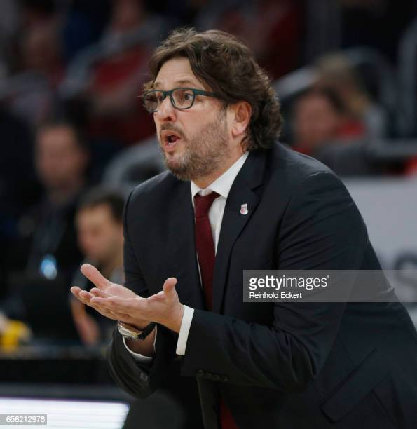 Andrea Trinchieri Head Coach of Brose Bamberg in action during the 2016/2017 Turkish Airlines EuroLeague Regular Season Round 27 game between Brose...