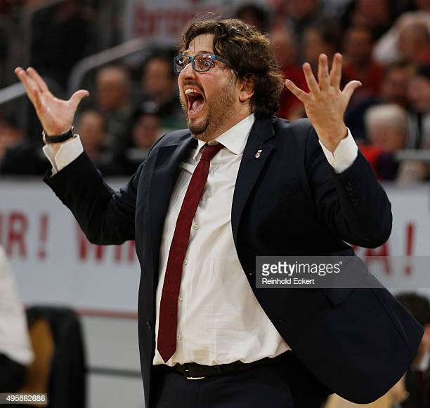 Andrea Trinchieri Head Coach of Brose Baskets Bamberg during the Turkish Airlines Euroleague Basketball Regular Season date 4 game between Brose...