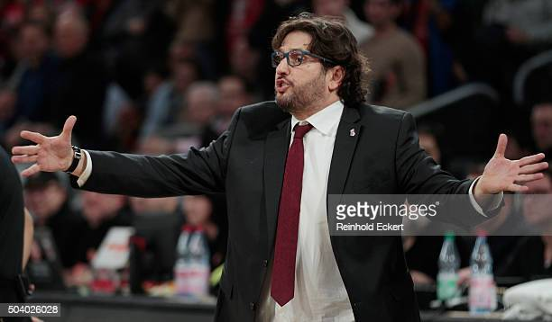 Andrea Trinchieri Head Coach of Brose Baskets Bamberg reacts during the Turkish Airlines Euroleague Basketball Top 16 Round 2 game between Brose...
