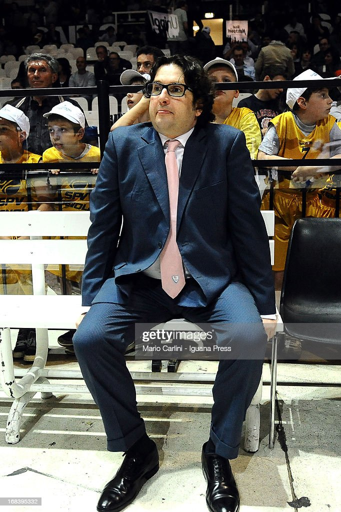 Andrea Trinchieri, head coach of Lenovo looks over during the LegaBasket A1 basketball match between Oknoplast Bologna and Lenovo Cantu at Unipol Arena on May 5, 2013 in Bologna, Italy.