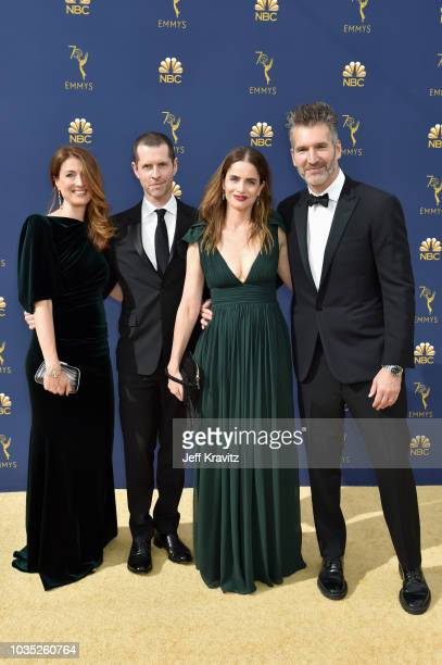 Andrea Troyer D B Weiss Amanda Peet and David Benioff attends the 70th Emmy Awards at Microsoft Theater on September 17 2018 in Los Angeles California