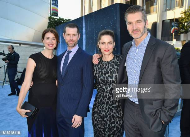 Andrea Troyer executive producer D B Weiss actor Amanda Peet and executive producer David Benioff at the Los Angeles Premiere for the seventh season...