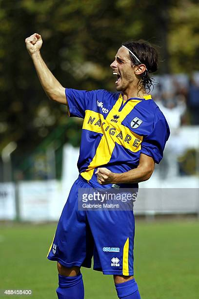 Andrea Vignali of Parma Calcio 1913 celebrates after scoring a goal durnig the Serie D match between Fortis Juventus and Parma Calcio 1913 on...