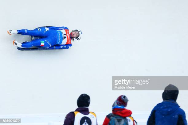 Andrea Voetter of Italy completes her first run in the Women's competition of the Viessmann FIL Luge World Cup at Lake Placid Olympic Center on...