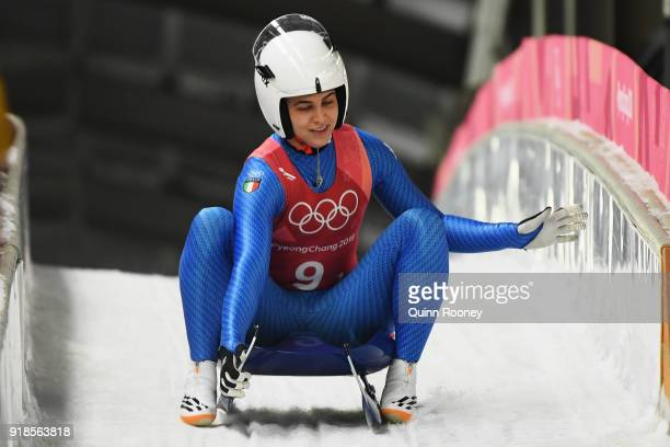 Andrea Voetter of Italy finishes a run during the Luge Team Relay on day six of the PyeongChang 2018 Winter Olympic Games at Olympic Sliding Centre...