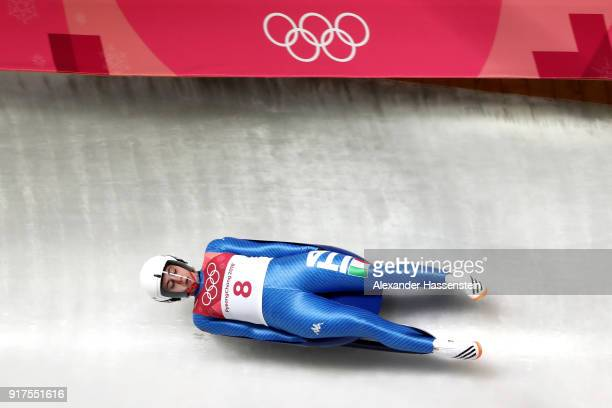 Andrea Voetter of Italy slides during the Women's Singles Luge run 1 at Olympic Sliding Centre on February 12, 2018 in Pyeongchang-gun, South Korea.