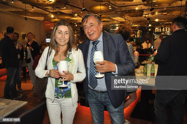 Andrea vom Badesee and Richard Lugner pose during the 'Die Allee zum Genuss' restaurant opening party on May 24, 2017 in Vienna, Austria.
