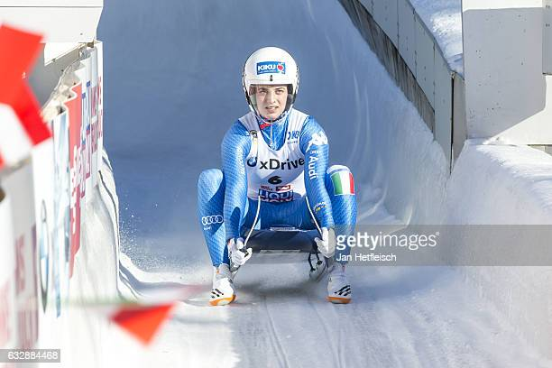 Andrea Vstter of Italy reacts after her run in the Sprint Women Final of the FIL-Sprint World Championships at Olympiabobbahn Igls on January 27,...
